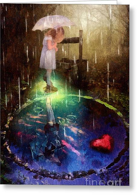 Greeting Card featuring the painting Wishing Well by Mo T