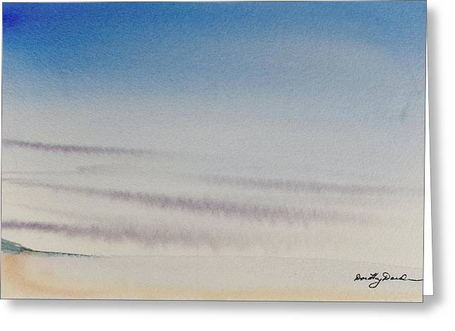 Wisps Of Clouds At Sunset Over A Calm Bay Greeting Card