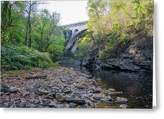 Wissahickon Creek At The Henry Avenue Bridge In Autumn Greeting Card