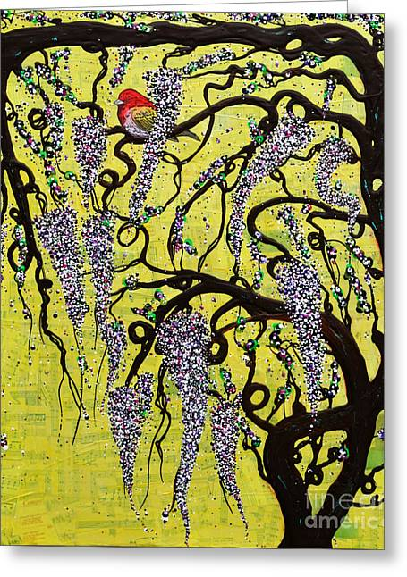 Greeting Card featuring the mixed media Wisteria Delight by Natalie Briney