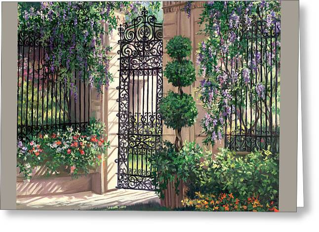 Wisteria Gate Greeting Card by Laurie Hein