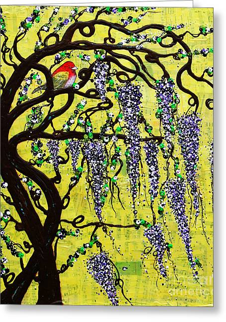 Greeting Card featuring the mixed media Wisteria Joy by Natalie Briney