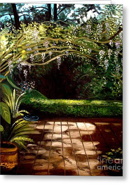 Greeting Card featuring the painting Wisteria Shadows by Elizabeth Robinette Tyndall