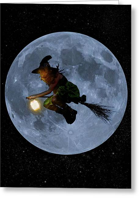 Witch Flying At Full Moon. Greeting Card