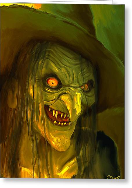Witch Hag Mark Spears Monsters Greeting Card