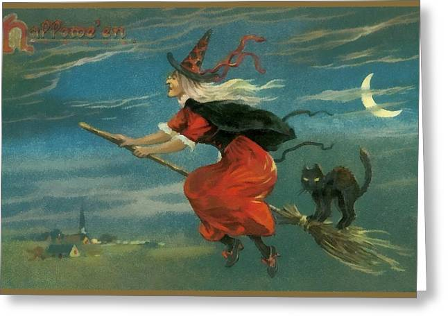Witch In Red On Her Flying Boom Greeting Card