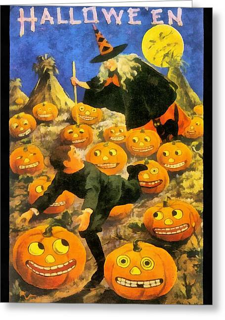 Witch In The Pumpkin Patch Greeting Card by Unknown