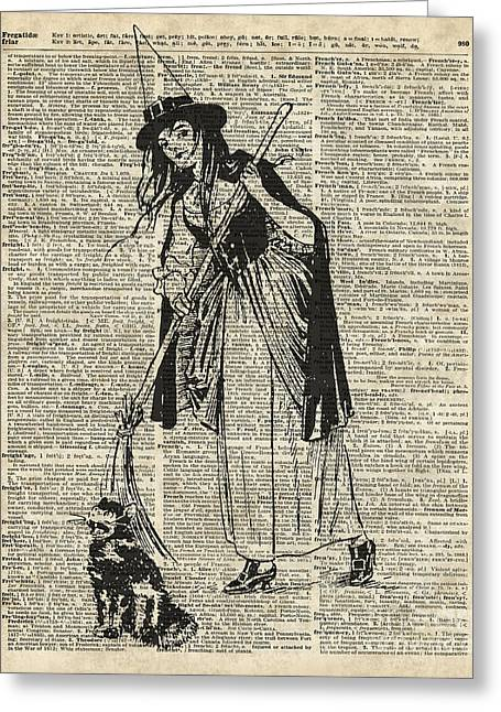 Witch With Broom And Cat Haloowen Party Decoration Gift In Vintage Style Greeting Card by Jacob Kuch