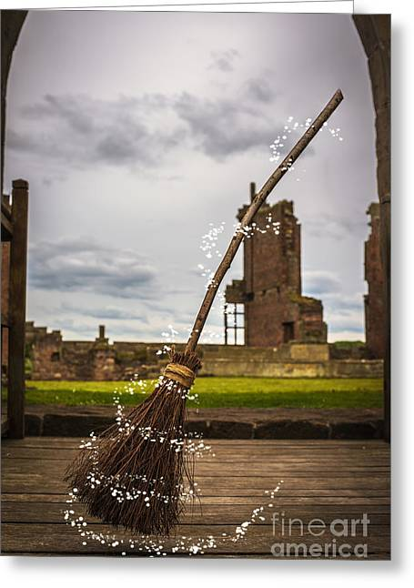 Witches Broom Greeting Card by Amanda Elwell