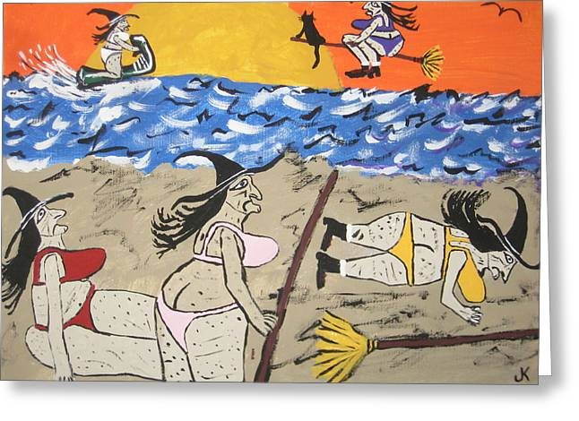 Witches Day At The Beach Greeting Card by Jeffrey Koss