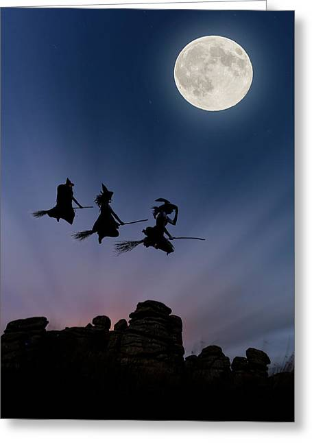 Witches Over Combstone Tor Greeting Card