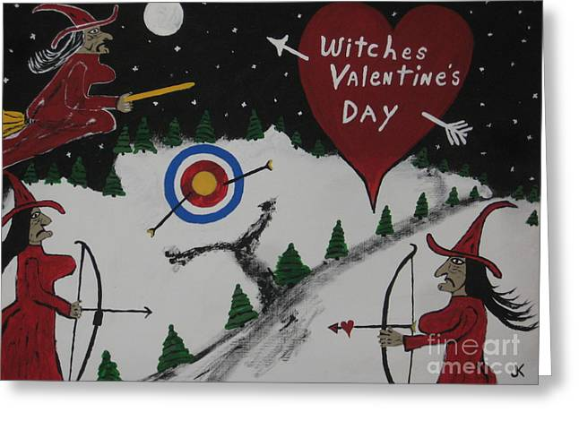 Witches Valentine's Day Greeting Card by Jeffrey Koss