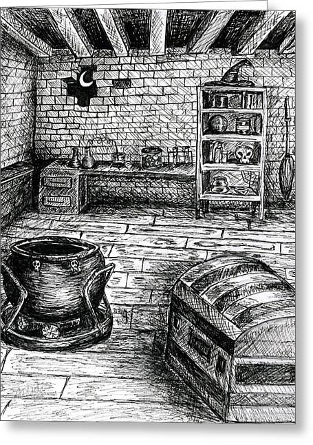 Witch's Cabin Greeting Card