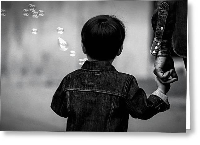With Dad And Bubbles Greeting Card by Dieter Lesche