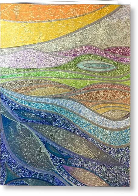Greeting Card featuring the mixed media With The Flow by Norma Duch
