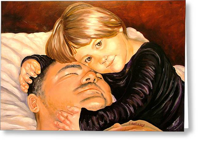 Dad Eyes Greeting Cards - With These Hands--Love Greeting Card by Carol Allen Anfinsen