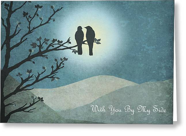 Greeting Card featuring the digital art With You By My Side Landscape View by Christina Lihani