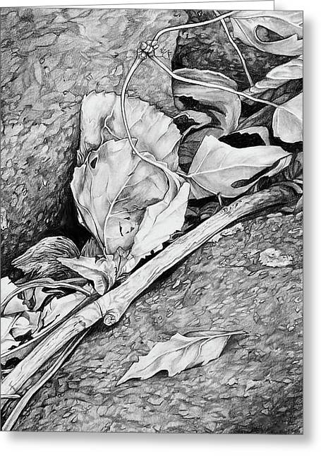 Greeting Card featuring the drawing Withered Leaves by Aaron Spong