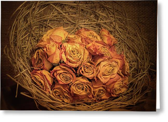 Withered Roses Greeting Card by Wim Lanclus