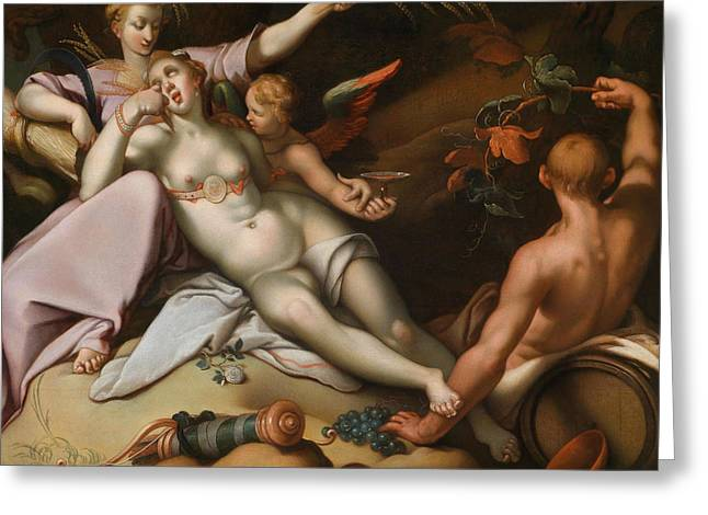 Without Ceres And Bacchus, Venus Freezes Greeting Card by Abraham Bloemaert