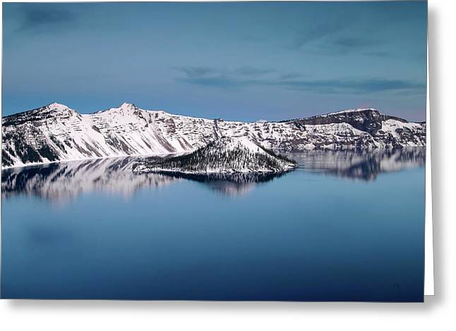 Wizard Island And The West Rim At Twilight, Crater Lake Np, Oregon Greeting Card