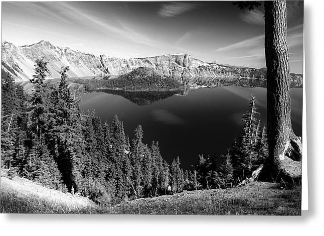 Wizard Island On Crater Lake B W Greeting Card by Frank Wilson