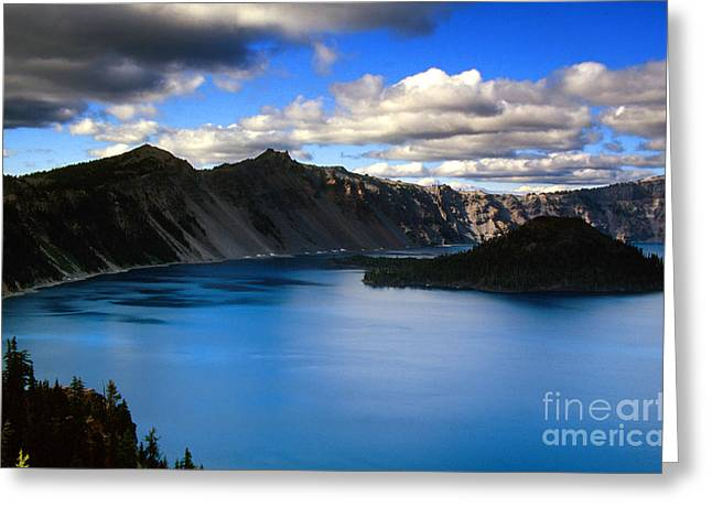 Wizard Island Stormy Sky- Crater Lake Greeting Card