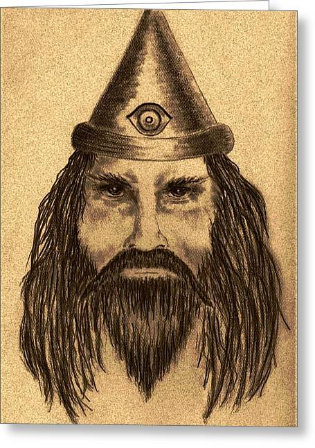 Wizard Drawings Greeting Cards - Wizard Greeting Card by Michael Vigliotti