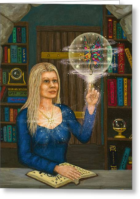 Wizards Library Greeting Card by Roz Eve