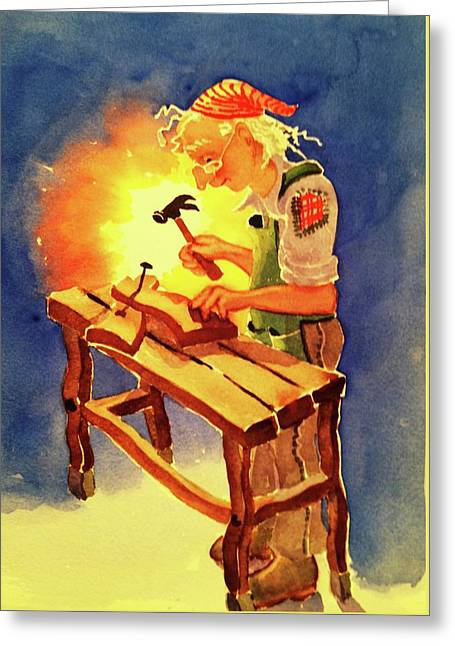 Wizard's Workbench Greeting Card by Marilyn Jacobson