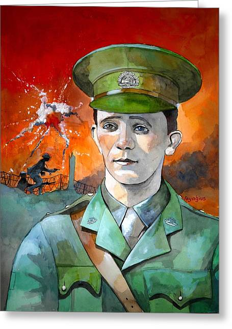 Greeting Card featuring the painting W.j. Symons Vc by Ray Agius