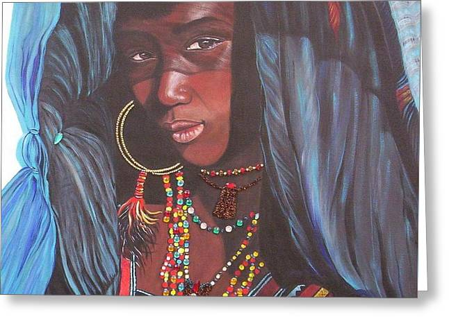 Greeting Card featuring the painting Wodaabe Girl by Sigrid Tune