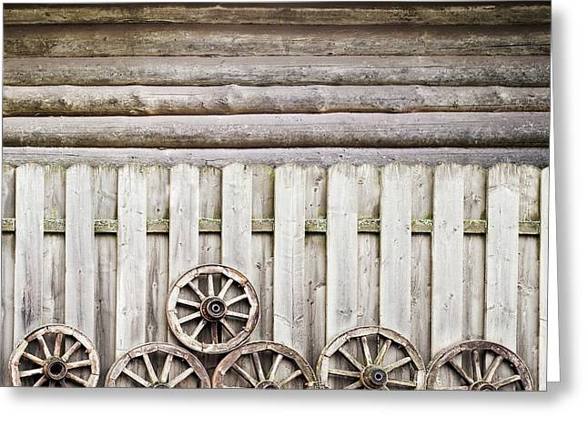 Wodden Fence Near The Wall Greeting Card