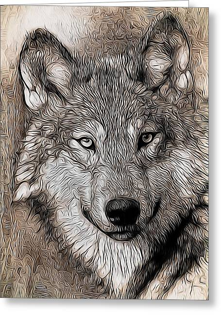 Greeting Card featuring the digital art Wolf  by Aaron Berg