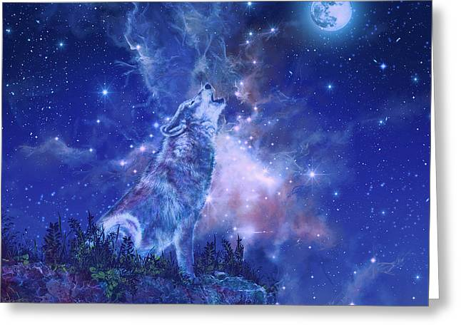 Wolf And Sky Blue 2 Greeting Card