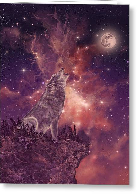 Wolf And Sky Red Greeting Card