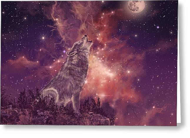 Wolf And Sky Red Greeting Card by Bekim Art