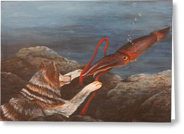 Wolf And Squid Greeting Card