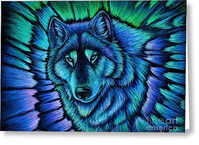 Wolf Aurora Greeting Card