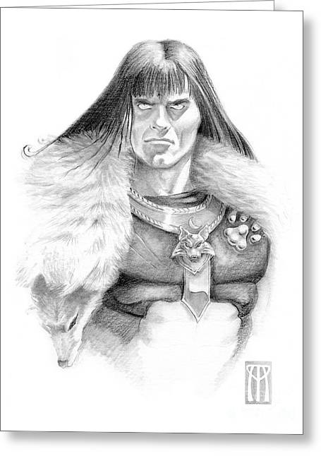Wolf Barbarian Greeting Card by Melissa A Benson