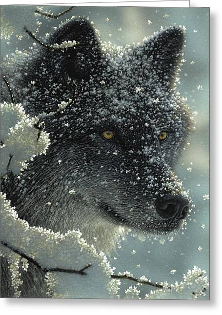 Wolf - Black In White Greeting Card