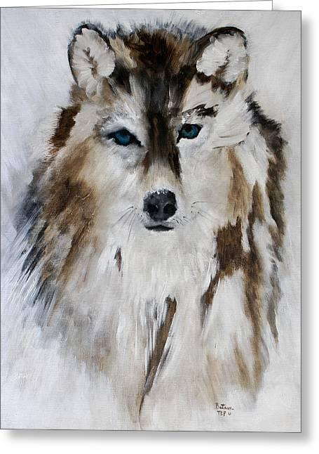 Wolf - Blue Star Greeting Card