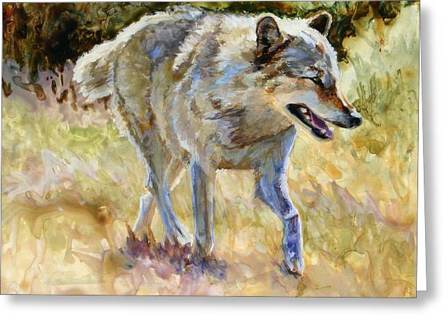 Wolf Greeting Card by Bonnie Rinier