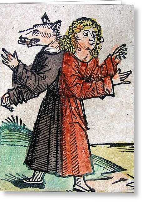 Wolf Boy, Nuremberg Chronicle, 1493 Greeting Card by Science Source