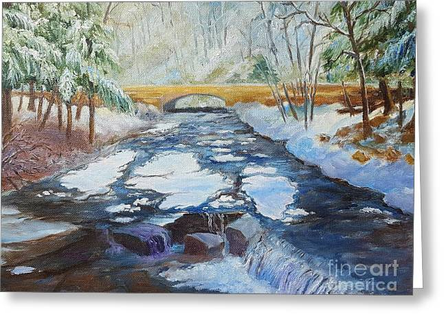 Wolf Creek In Winter At Letchworth Park Greeting Card by Dorothy Weichenthal