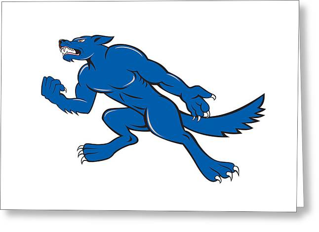Wolf Dog Clenching Fist Cartoon Greeting Card