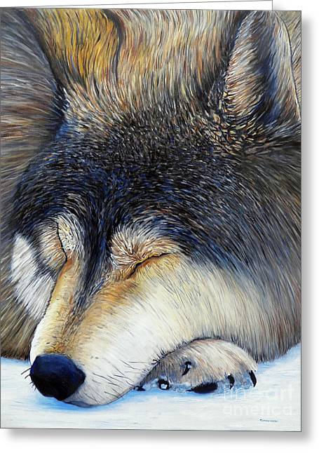Wolf Dreams Greeting Card by Brian  Commerford