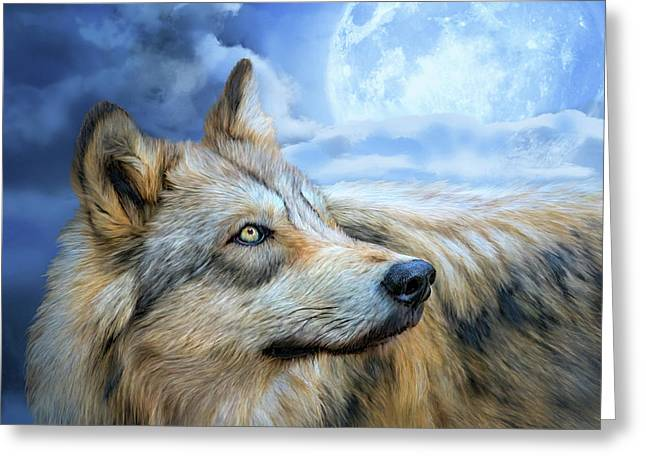 Greeting Card featuring the mixed media Wolf Glow by Carol Cavalaris