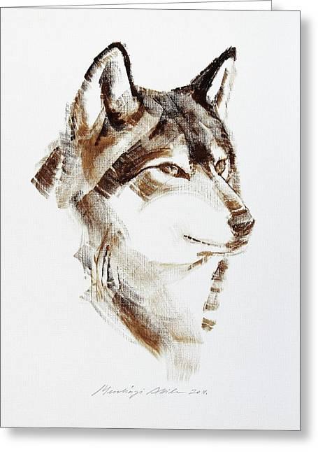 Wolf Head Brush Drawing Greeting Card