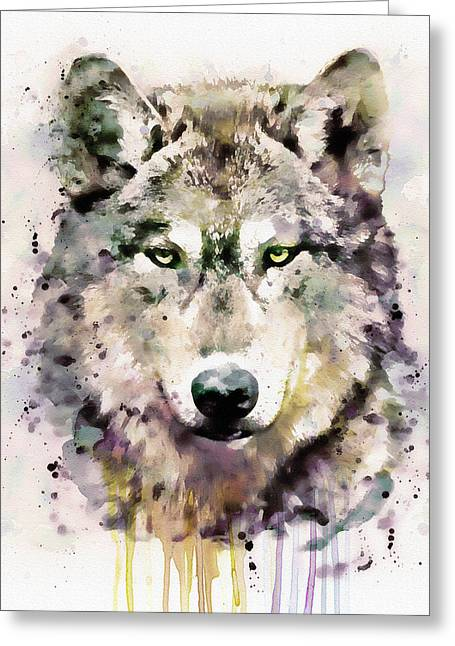 Wolf Head Greeting Card by Marian Voicu